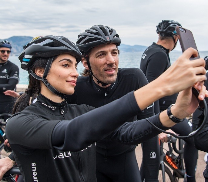 Fabian Cancellara and Jessica Kawahaty