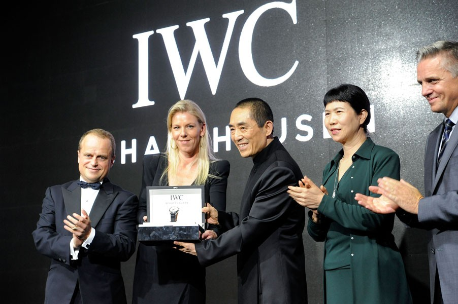 Benoit De Clerck, IWC Managing Director Asia Pacific, Karoline Huber, IWC Director of Marketing & Communications, Chinese film director Zhang Yimou, Zhang Xun, President China Flim Corproduction Corp and Mike Ellis